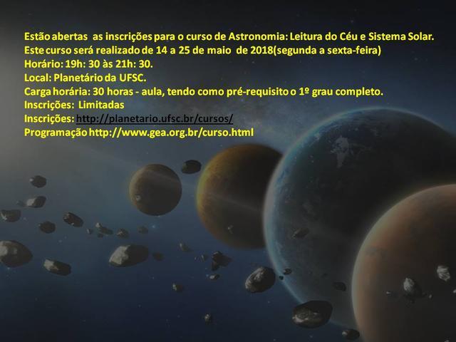 PLANETÁRIO | Curso de Astronomia Leitura do Céu e Sistema Solar