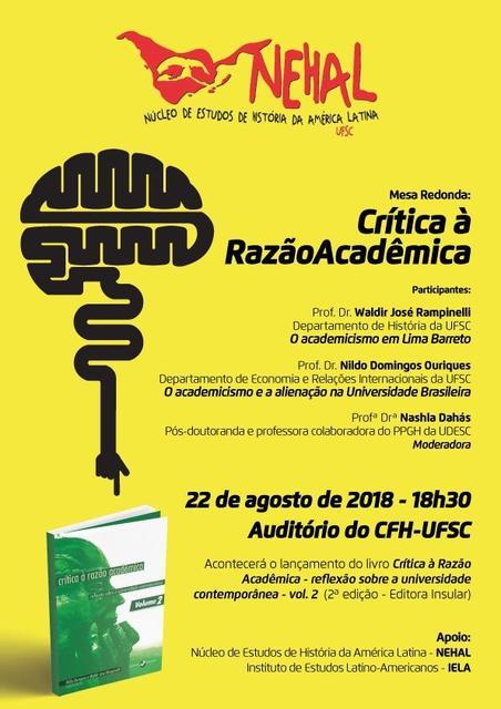 Mesa Redonda: Crítica à Razão Acadêmica @ Auditório do CFH - Bloco de salas de aula | Santa Catarina | Brasil